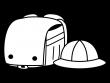 ランドセルと通学帽子の白黒イラスト