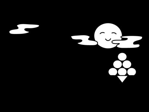 9月タイトル・お月見の白黒イラスト