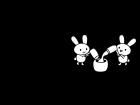 9月タイトル・お月見うさぎの白黒イラスト