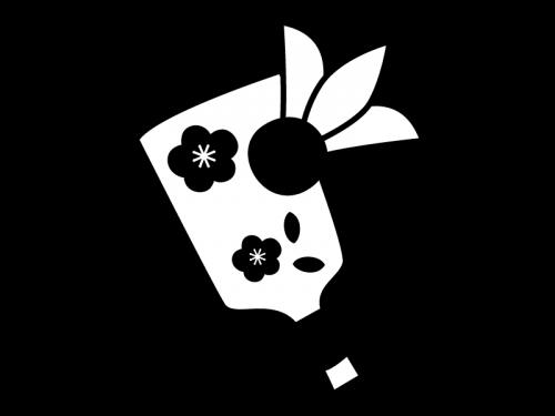お正月・羽子板の白黒イラスト02