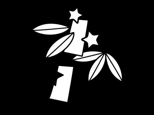 七夕飾りの白黒イラスト02