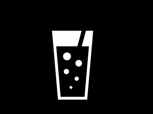 炭酸ジュースの白黒イラスト