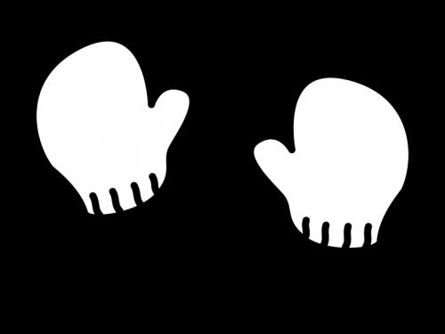 毛糸の手袋の白黒イラスト