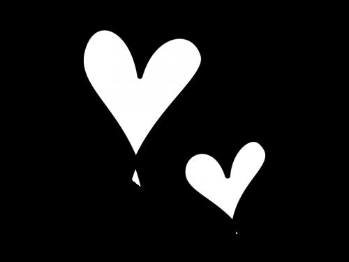 手書きのハートの白黒イラスト04 かわいい無料の白黒イラスト モノぽっと