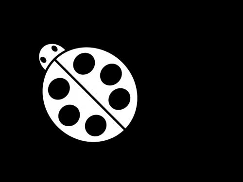 てんとう虫の白黒イラスト
