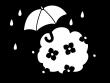 紫陽花と傘の梅雨の白黒イラスト