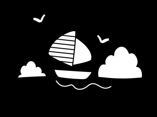 海とヨットの白黒イラスト