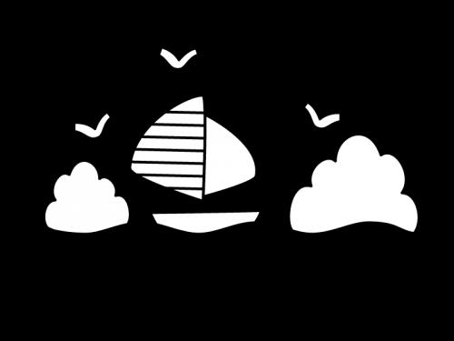 海とヨットの白黒イラスト02