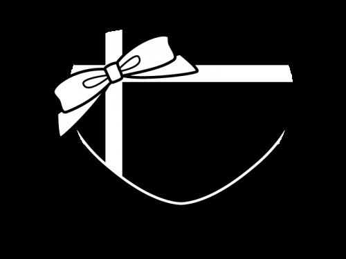 リボン付きバレンタインチョコの白黒イラスト02