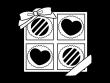 箱入りのバレンタインチョコの白黒イラスト