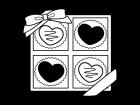 箱入りのバレンタインチョコの白黒イラスト02