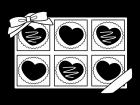 箱入りのバレンタインチョコの白黒イラスト03