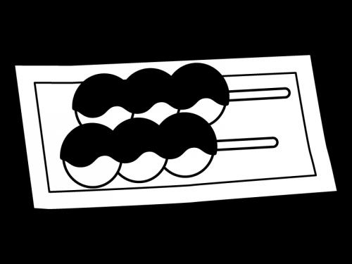 和菓子・あんこのお団子の白黒イラスト02