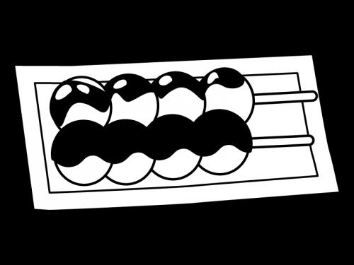 和菓子・お団子(あんこ・みたらし)の白黒イラスト