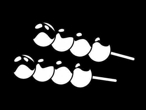 和菓子・みたらし団子の白黒イラスト