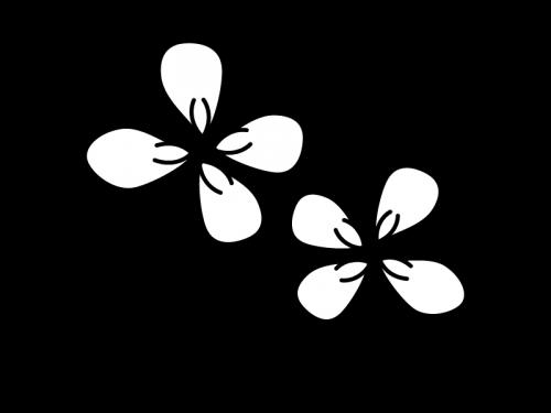 四葉のクローバーの白黒イラスト