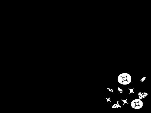 朝顔(あさがお)のフレーム・枠の白黒イラスト02