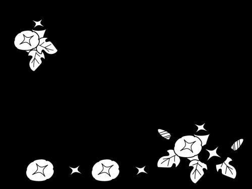 朝顔(あさがお)のフレーム・枠の白黒イラスト03