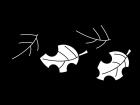 紅葉・落ち葉の白黒イラスト02
