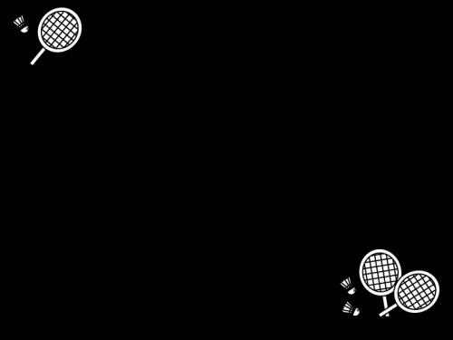 バドミントンのフレーム・枠の白黒イラスト