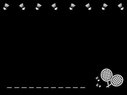 バドミントンのフレーム・枠の白黒イラスト02