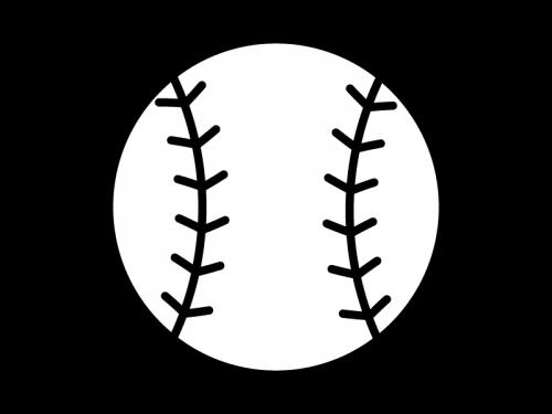 野球ボールの白黒イラスト