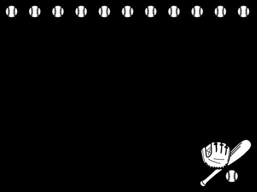 野球のフレーム・枠の白黒イラスト02