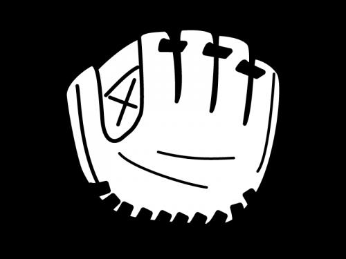 野球のグローブの白黒イラスト