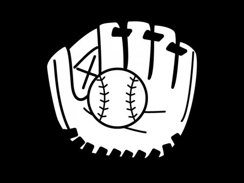 野球のグローブとボールの白黒イラスト