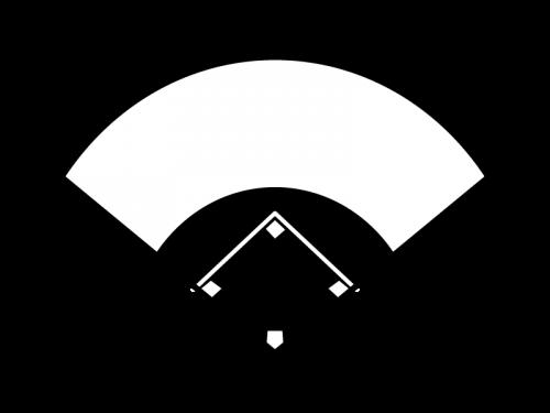 野球のグラウンドの白黒イラスト