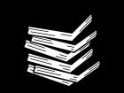 積み上がった本の白黒イラスト