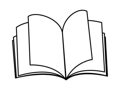 本・ノートの白黒イラスト
