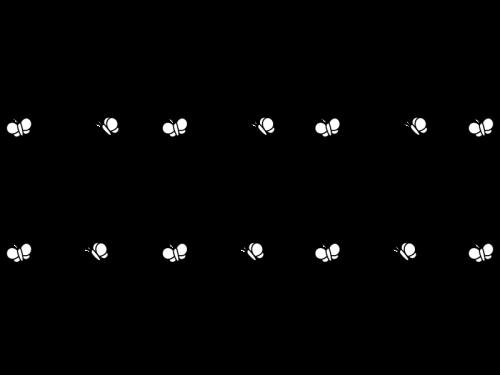蝶々のライン・罫線の白黒イラスト