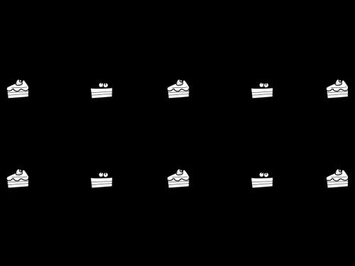 ショートケーキのライン・罫線の白黒イラスト