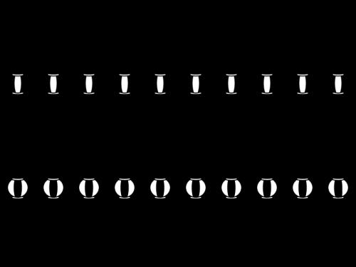提灯のライン・罫線の白黒イラスト