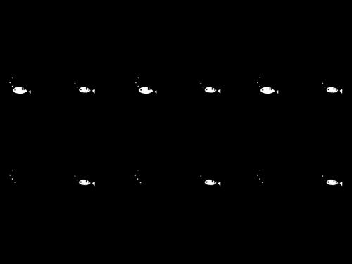 かわいい魚のライン・罫線の白黒イラスト