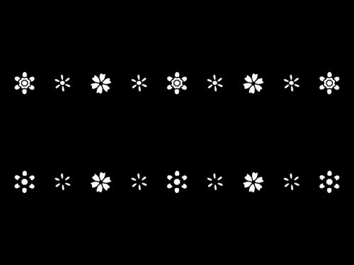 小花のライン・罫線の白黒イラスト