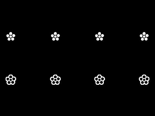 小花のライン・罫線の白黒イラスト02