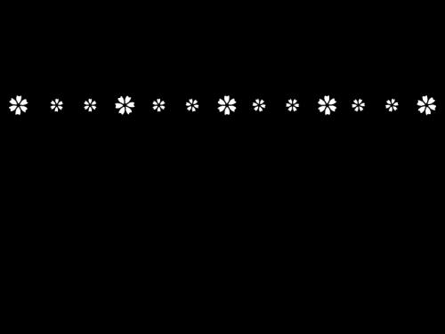 小花のライン・罫線の白黒イラスト04