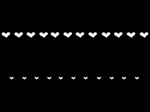ハートのライン・罫線の白黒イラスト02