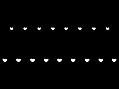 ハートのライン・罫線の白黒イラスト03