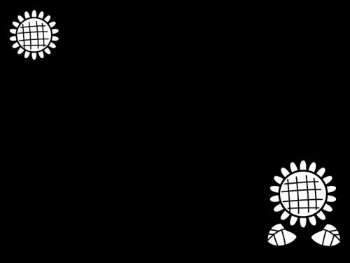 ひまわりのフレーム・枠の白黒イラスト