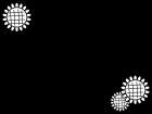ひまわりのフレーム・枠の白黒イラスト02