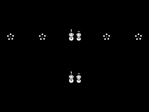 ひな祭りのライン・罫線の白黒イラスト