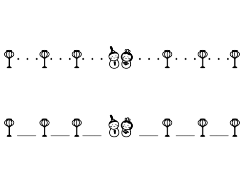 ひな祭りのライン・罫線の白黒イラスト03