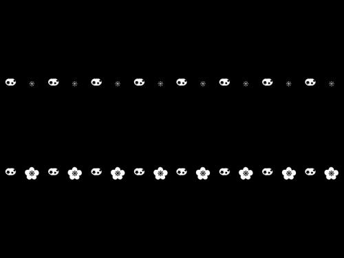 ぼんぼりと桃の花のひな祭りのライン罫線の白黒イラスト かわいい