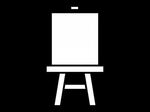 絵画のイーゼルの白黒イラスト