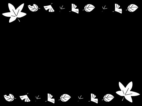 いちょうや紅葉のフレーム・枠の白黒イラスト
