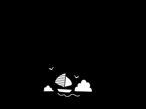 海とヨットのフレーム・枠の白黒イラスト
