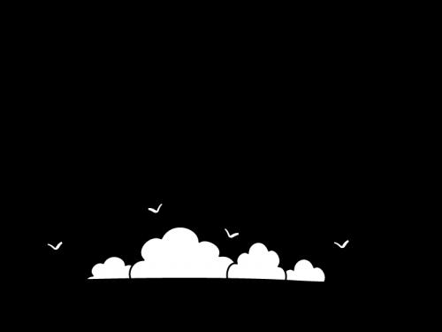 海と入道雲のフレーム・枠の白黒イラスト